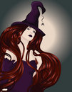Beautiful witch with long hair Royalty Free Stock Photo