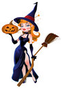 Beautiful witch and pumpkin Royalty Free Stock Images
