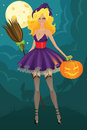 Beautiful witch with pumpkin Stock Image