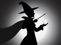 Beautiful witch silhouette illustration a vector with shading effect Royalty Free Stock Image