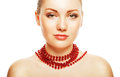 Beautiful woman with accessorize on neck white background Royalty Free Stock Photos