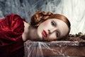 Beautiful woman against autumn decoration. Fashion Royalty Free Stock Photo