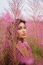 Beautiful Woman Amongst The Flowers Stock Images