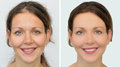 Beautiful woman before and after applying make-up, hairstyling and teeth whitening Royalty Free Stock Photo