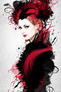 Beautiful woman artwork with ink in grunge style Stock Image