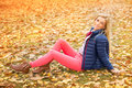 Beautiful woman at the autumnal park young Royalty Free Stock Image