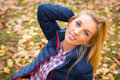 Beautiful woman at the autumnal park young Royalty Free Stock Photography