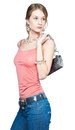 Beautiful woman with bag Stock Photography