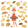 Beautiful woman baker standing with a baking tray with cookies. Cartoon female character at work. Bakery products and