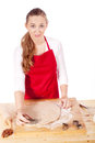 Beautiful woman is baking cookies for christmas Royalty Free Stock Photo