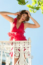 Beautiful woman on the balcony Royalty Free Stock Photos