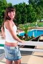 Beautiful woman at balcony of hotel Royalty Free Stock Images