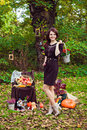 Beautiful woman with a basket of flowers in autumn park Royalty Free Stock Photo