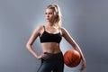 Beautiful woman basketball player standing and holding basketball ball. Royalty Free Stock Photo
