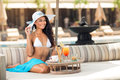 Beautiful woman in beach cafe Royalty Free Stock Photo