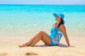 Beautiful woman on the beach of mahmya island posing egypt Stock Photos