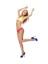 Beautiful woman in bikini bright picture of and high heels Royalty Free Stock Photo