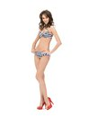 Beautiful woman in bikini bright picture of and high heels Royalty Free Stock Photography