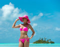 Beautiful woman in bikini on the paradise island maldives Stock Images