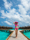 Beautiful woman in bikini on the paradise island maldives Royalty Free Stock Images