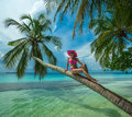 Beautiful woman in bikini on the paradise island maldives Stock Photos