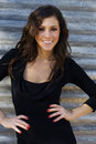 Beautiful  woman in black dress smiling Stock Image