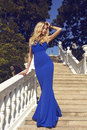 Beautiful woman with blond hair in elegant dress at park Royalty Free Stock Photo