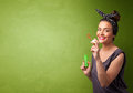 Beautiful woman blowing soap bubble on copyspace background Royalty Free Stock Photo