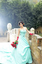 Beautiful woman in blue dress Royalty Free Stock Photo