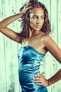 Beautiful woman in a blue dress portrait of young stylish girl Royalty Free Stock Photos