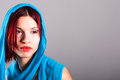 Beautiful woman with a blue veil portrait of Royalty Free Stock Images