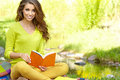 Beautiful woman  with book Stock Photography