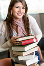 Beautiful woman with books Royalty Free Stock Photo