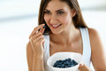 Beautiful Woman With Bowl Of Blueberries. Healthy Diet Nutrition Royalty Free Stock Photo