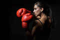 Beautiful woman boxing with the red gloves studio shot Royalty Free Stock Photo