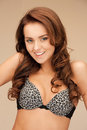 Beautiful woman in bra bright closeup portrait picture of Royalty Free Stock Photo