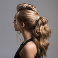 Beautiful woman. Braid Tail Hairstyle. Royalty Free Stock Photo