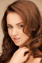 Beautiful woman bright closeup portrait picture of Royalty Free Stock Photos