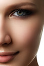 Beautiful woman with bright make up eye with sexy liner makeup fashion big arrow shape on s eyelid chic evening Stock Photo