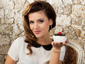Beautiful woman with a cake Royalty Free Stock Photo