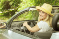 Beautiful woman in the car cheerful young Royalty Free Stock Photos