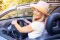 Beautiful woman in the car cheerful young Royalty Free Stock Photography