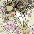 Beautiful woman with carnival mask vector illustration Stock Photography