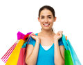 Beautiful Woman Carrying Shopping Bags Royalty Free Stock Photo