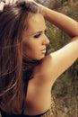 Beautiful woman with cat eye fashion make-up Royalty Free Stock Photo
