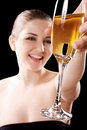 Beautiful woman with champagne glass Stock Photos