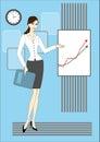 Beautiful woman and chart board Stock Photo