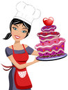 Beautiful woman chef valentine day chocolate cake illustration featuring smiling holding a multilayer decorated with strawberries Stock Image