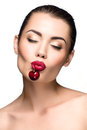 Beautiful woman with cherry Royalty Free Stock Photo