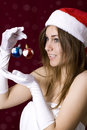 image photo : Beautiful woman with christmass toys